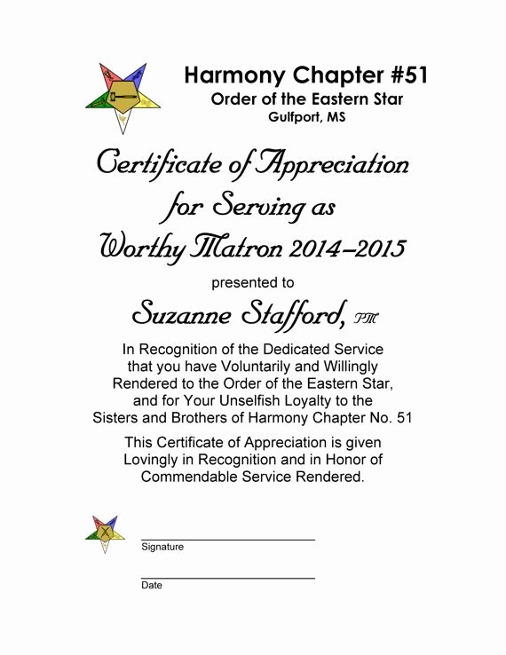 Masonic Certificate Of Appreciation Best Of Oes Certificate Of Appreciation Past Worthy Matron and