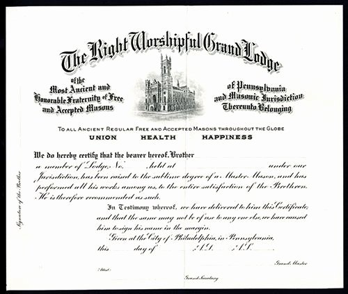 Masonic Certificate Of Appreciation Elegant Right Worshipful Grand Lodge Masonic Specimen