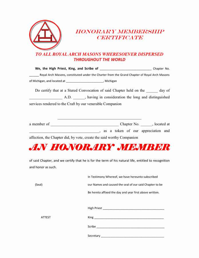 Masonic Certificate Of Appreciation Lovely Honorary Membership Certificate In Word and Pdf formats