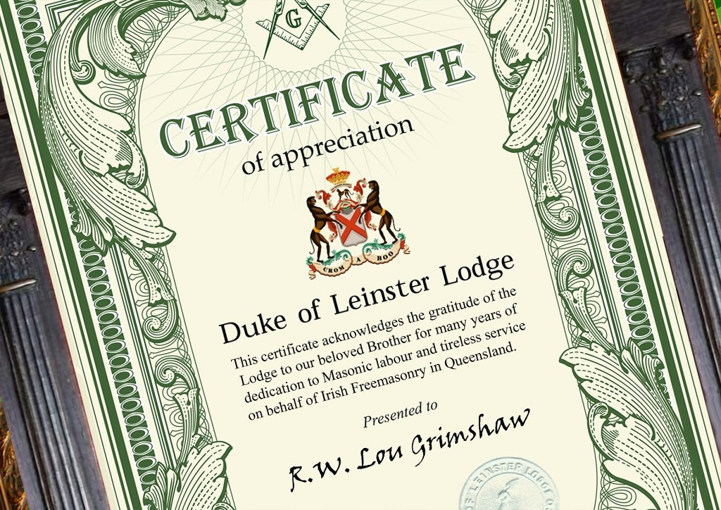 Masonic Certificate Of Appreciation Luxury Certificate Presentation by the Grand Master to Rw Bro Lou