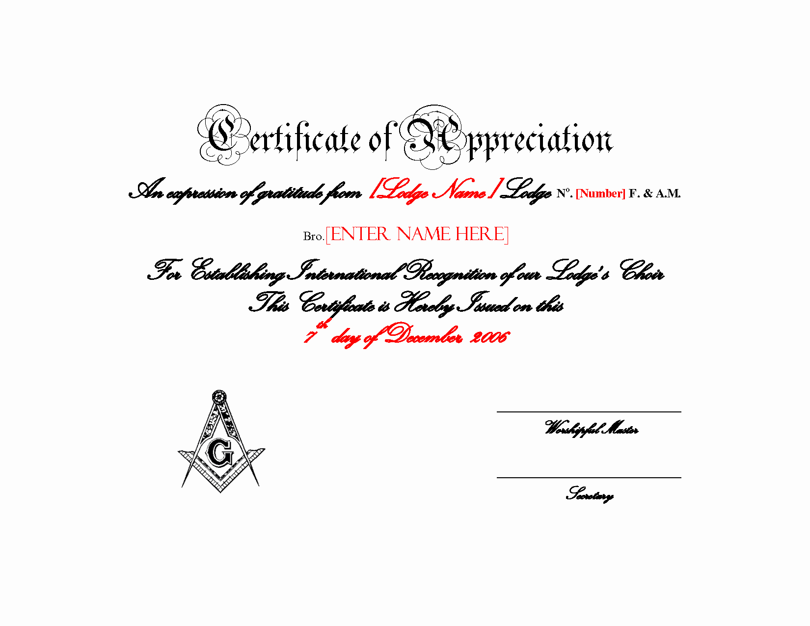 Masonic Certificate Of Appreciation New Index Of Cdn 3 1993 46