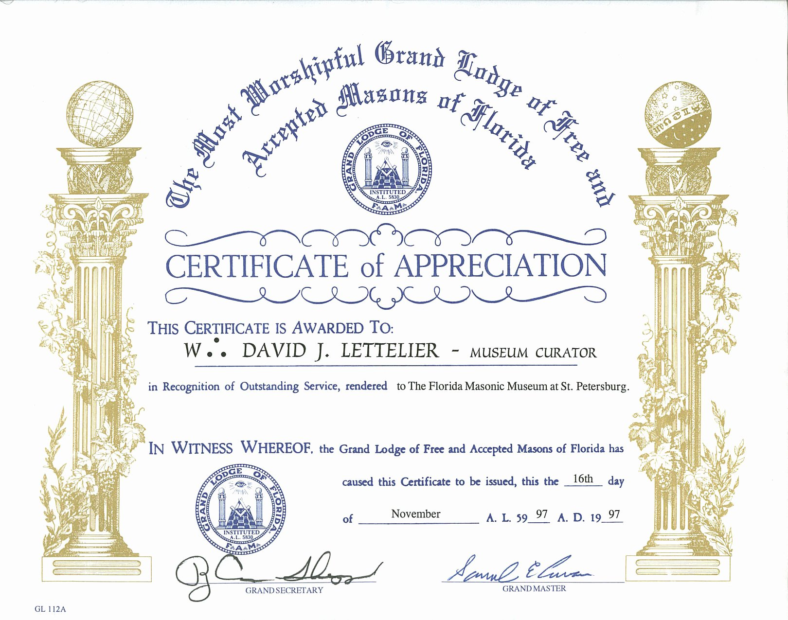Masonic Certificate Of Appreciation Template Awesome by Worshipful Brother David J Lettelier