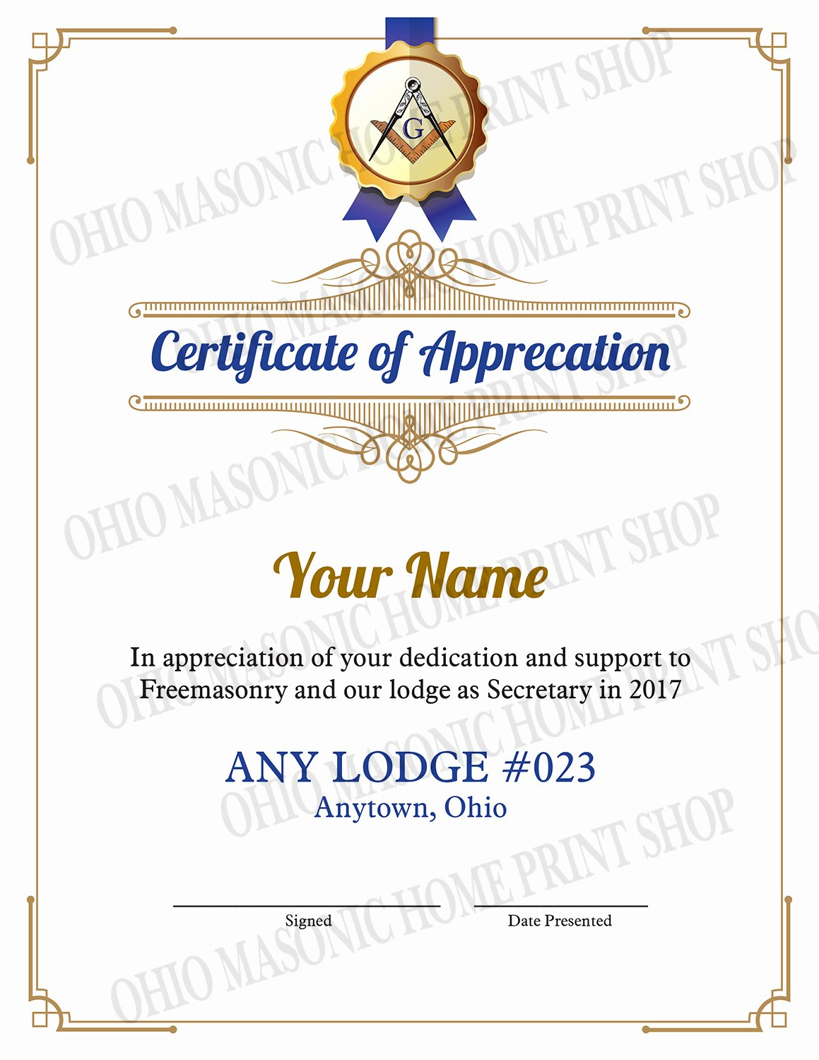 Masonic Certificate Of Appreciation Template Lovely Occasion Certificate the Ohio Masonic Home Printshop