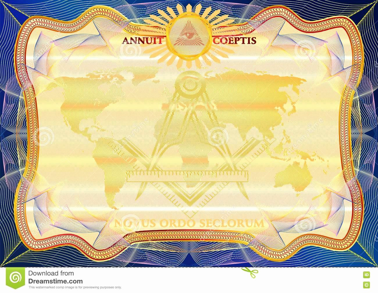 Masonic Certificate Template Free Awesome Masons Certificate Diploma Template Award Pattern Stock