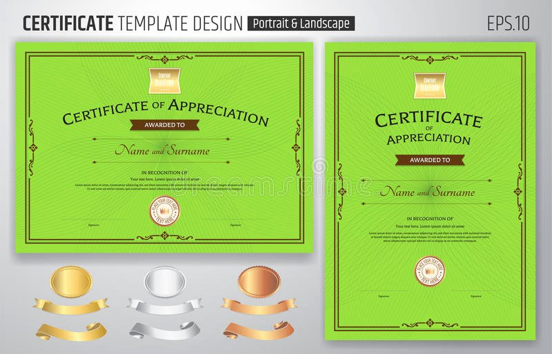 stock illustration set certificate appreciation template award ribbon abstract guilloche background vintage border style image