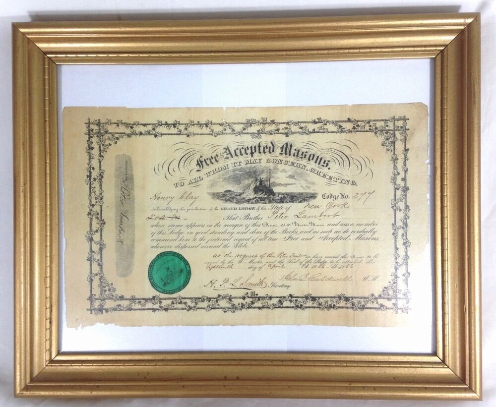 Masonic Certificate Template Free New Masonic Certificate Frames for Sale