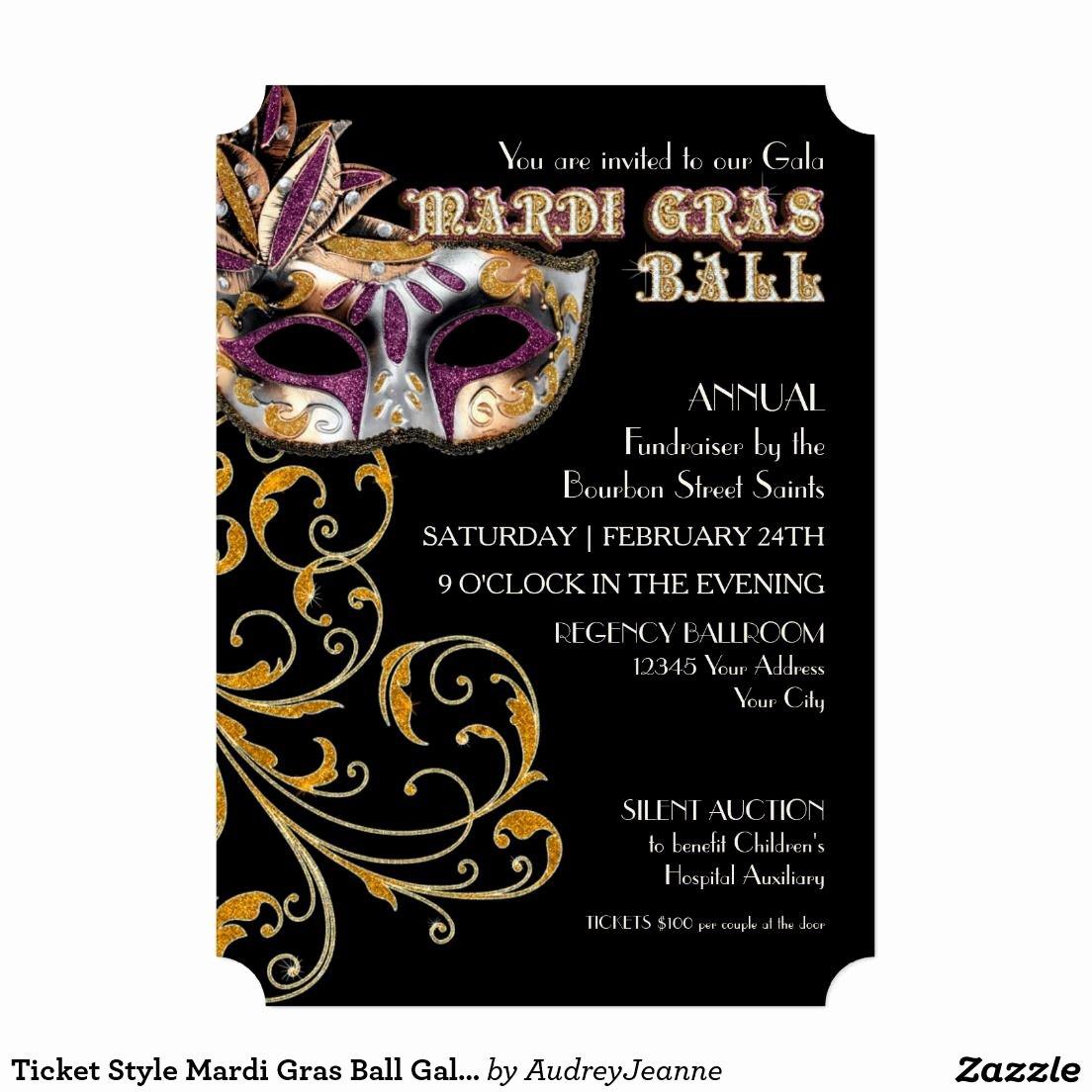 Masquerade Invitations Templates Free Beautiful Ticket Style Mardi Gras Ball Gala Party Fundraiser