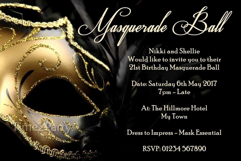 Masquerade Invitations Templates Free Inspirational Masquerade Ball Personalised Birthday Party Invitations