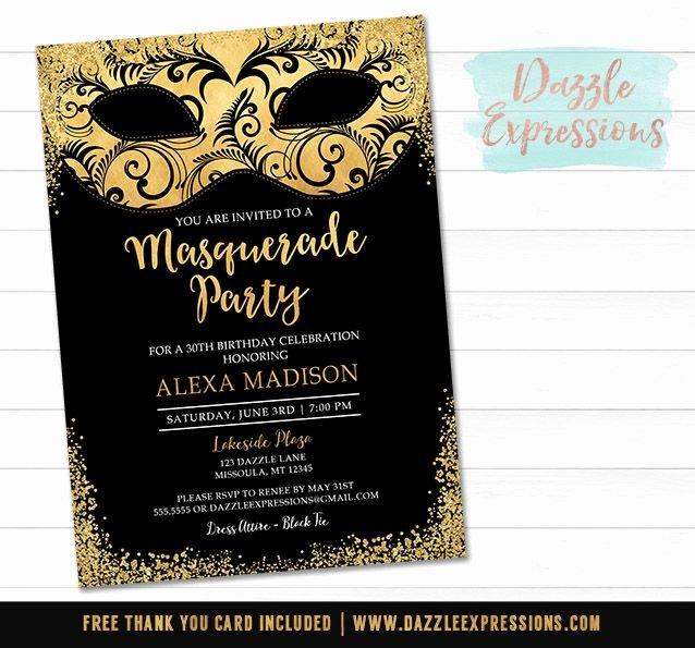 Masquerade Invitations Templates Free Luxury Printable Black and Gold Masquerade Invitation