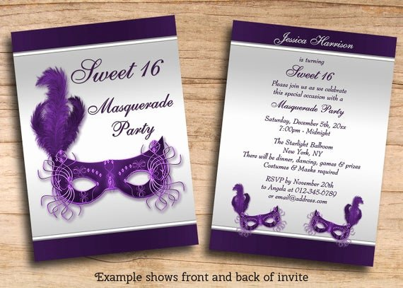 Masquerade Invitations Templates Free Unique Items Similar to Printable Sweet 16 Masquerade Party