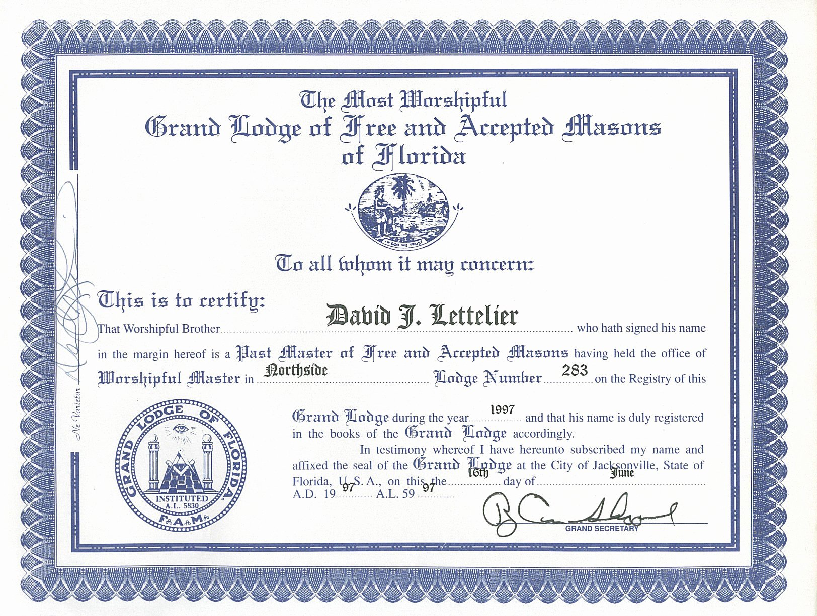 Master Mason Certificate Template Beautiful by Worshipful Brother David J Lettelier