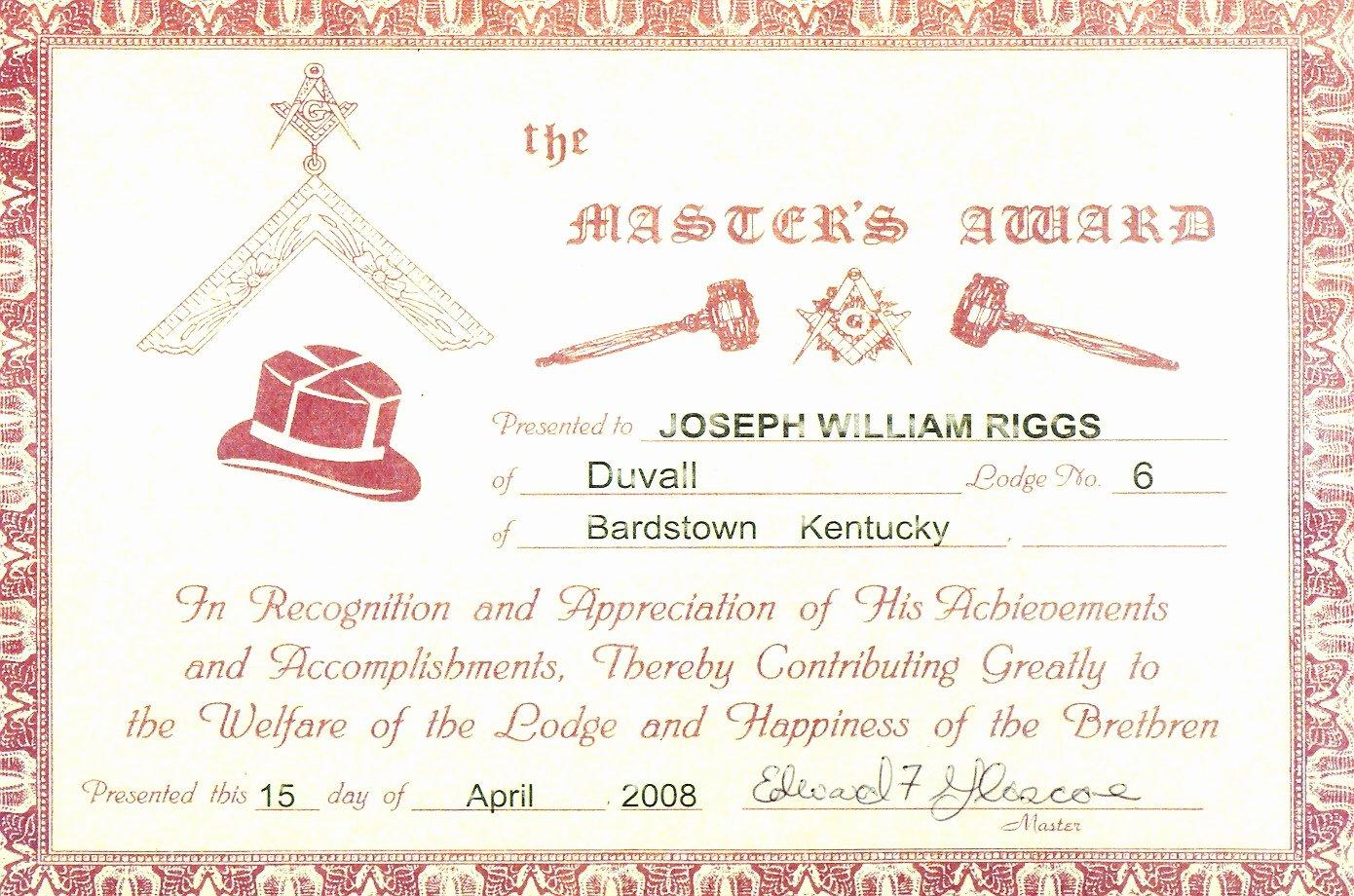 Master Mason Certificate Template Beautiful Recognition Certificates