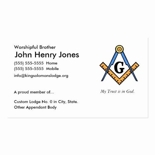 Master Mason Certificate Template Unique Masonic Business Card Templates