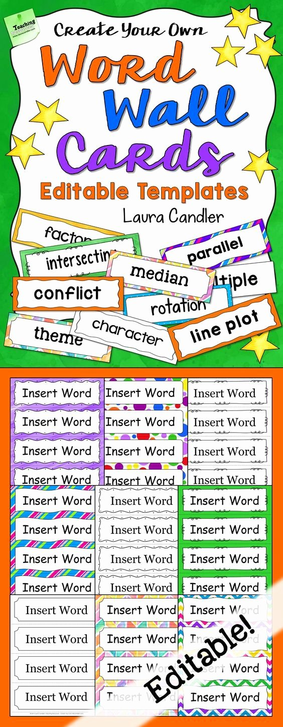 Math Borders for Word New Word Wall Cards Editable
