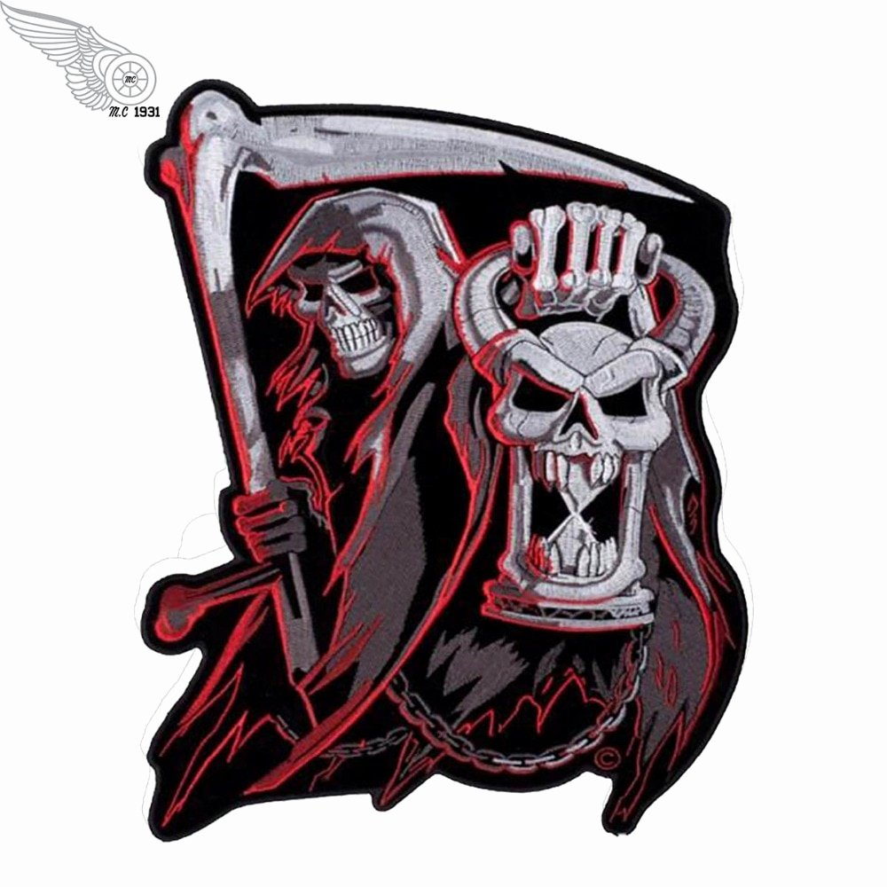 Mc Patch Template Fresh Satan Skull Hot Sell Embroidered Patch Full Back