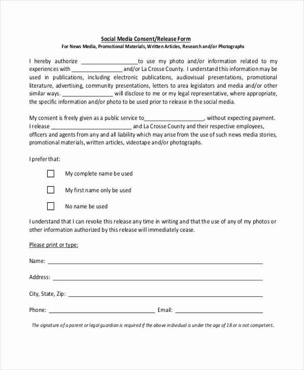 Media Release form Beautiful Free 10 Media Release forms In Word