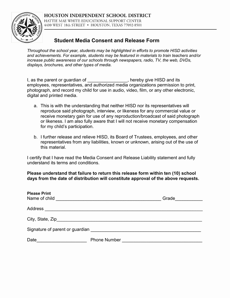 Media Release form Fresh Student Media Consent and Release form