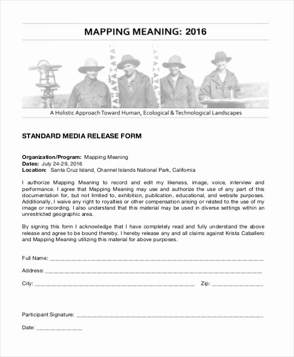 Media Release form Inspirational Free 10 Media Release forms In Word