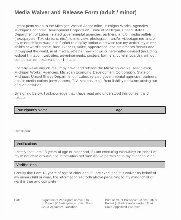 Media Release form New Generic Release forms
