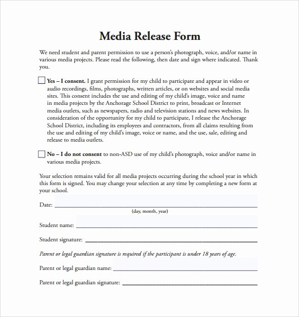 Media Release form Unique Sample Media Release form 6 Download Free Documents In