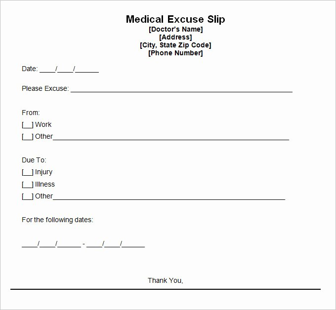 Medical Excuse form Fresh 9 Doctor Excuse Templates Pdf Doc