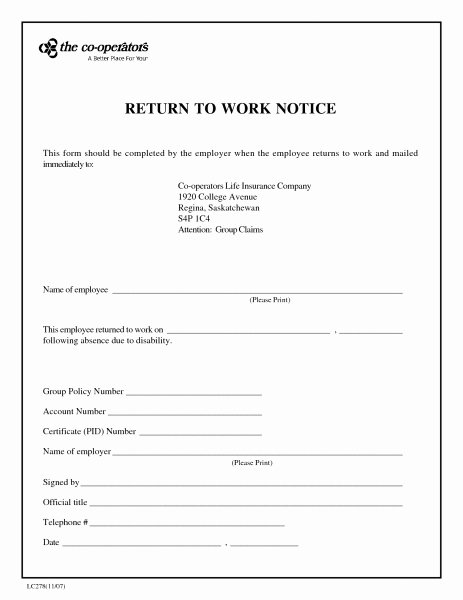Medical Excuse form Inspirational Fake Return to Work form