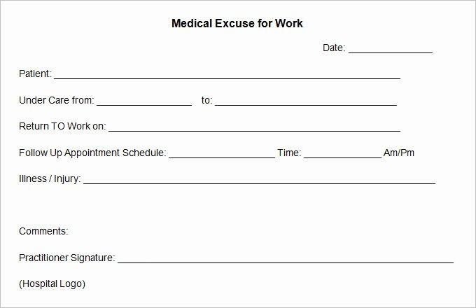 Medical Excuse form Unique 9 Doctor Excuse Templates Pdf Doc
