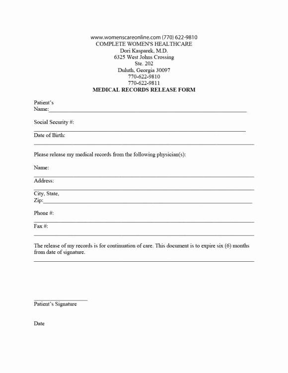 Medical Release Of Information form Best Of 40 Medical Records Release form Release Of Information