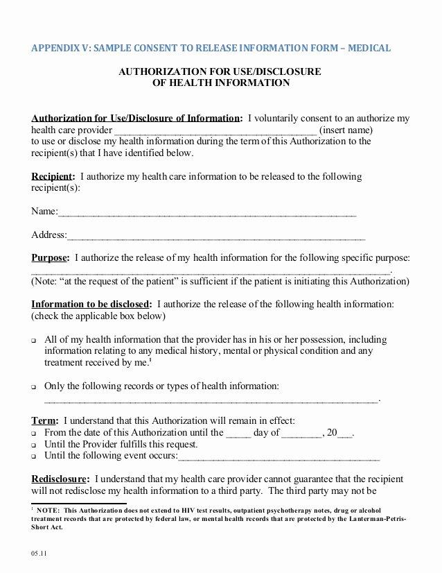 Medical Release Of Information form Inspirational Medical Release form