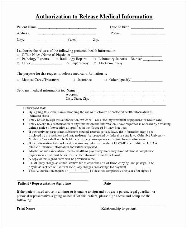 Medical Release Of Information form Inspirational Sample Medical Release form 9 Examples In Pdf