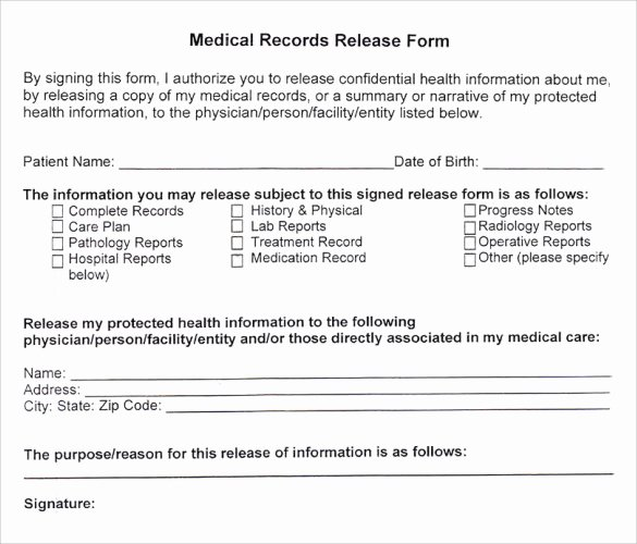 Medical Release Of Information form Lovely Medical Records Release form 10 Free Samples Examples