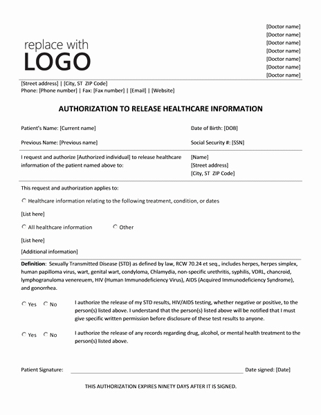Medical Release Of Information form Unique Authorization to Release Healthcare Information form