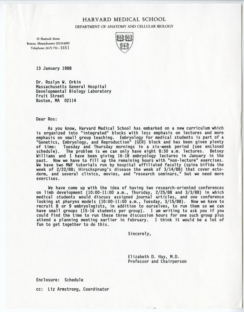 Medical School Acceptance Letter Sample Elegant Letter From Elizabeth D Hay to Rosalyn orkin About the