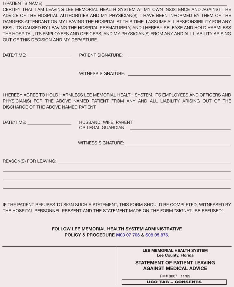 Medical Treatment Refusal form Template Lovely 8 Against Medical Advice form Templates and Examples