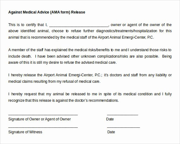 Medical Treatment Refusal form Template Unique Against Medical Advice form 8 Samples Examples format