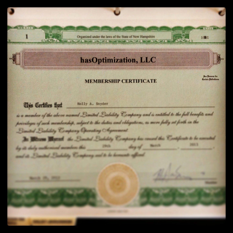 Membership Certificate Llc Template Beautiful Announcing Hasoptimization Llc A Digital Marketing Pany