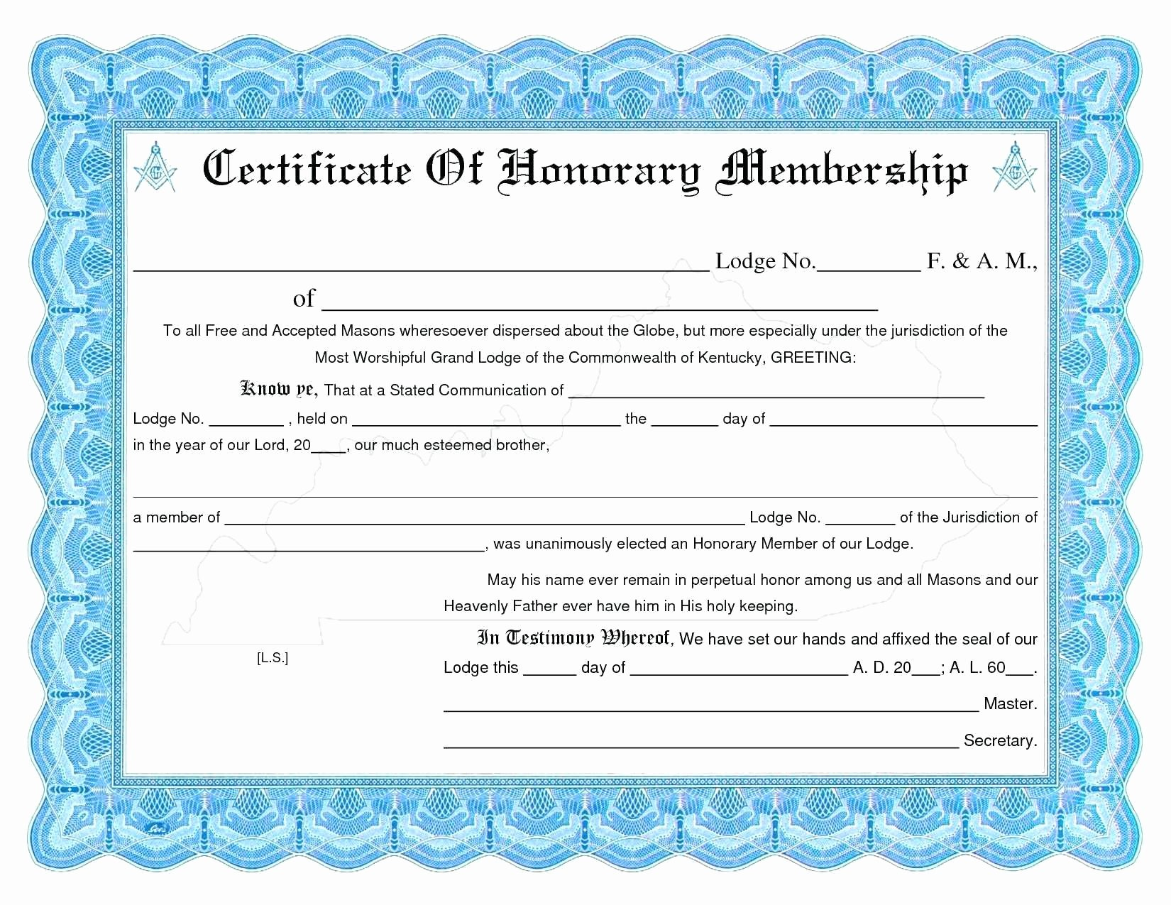 Membership Certificate Llc Template Elegant Membership Certificate Template Free