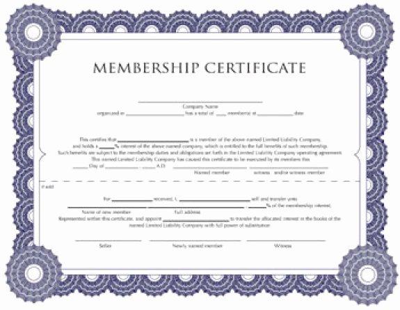 Membership Certificate Llc Template Unique Membership Certificate Templates Word Excel Samples