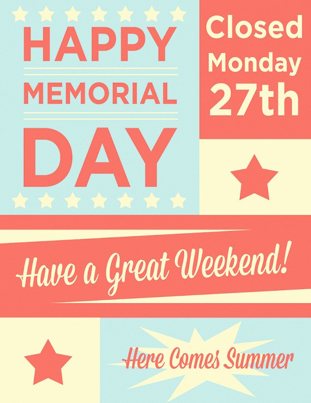 Memorial Day Closed Sign Template Unique Closed Memorial Day Sign Free Download Aashe