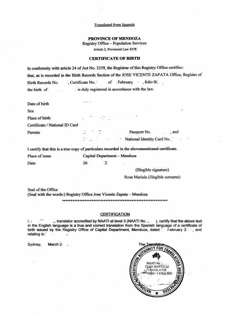 haitian birth certificate translation template