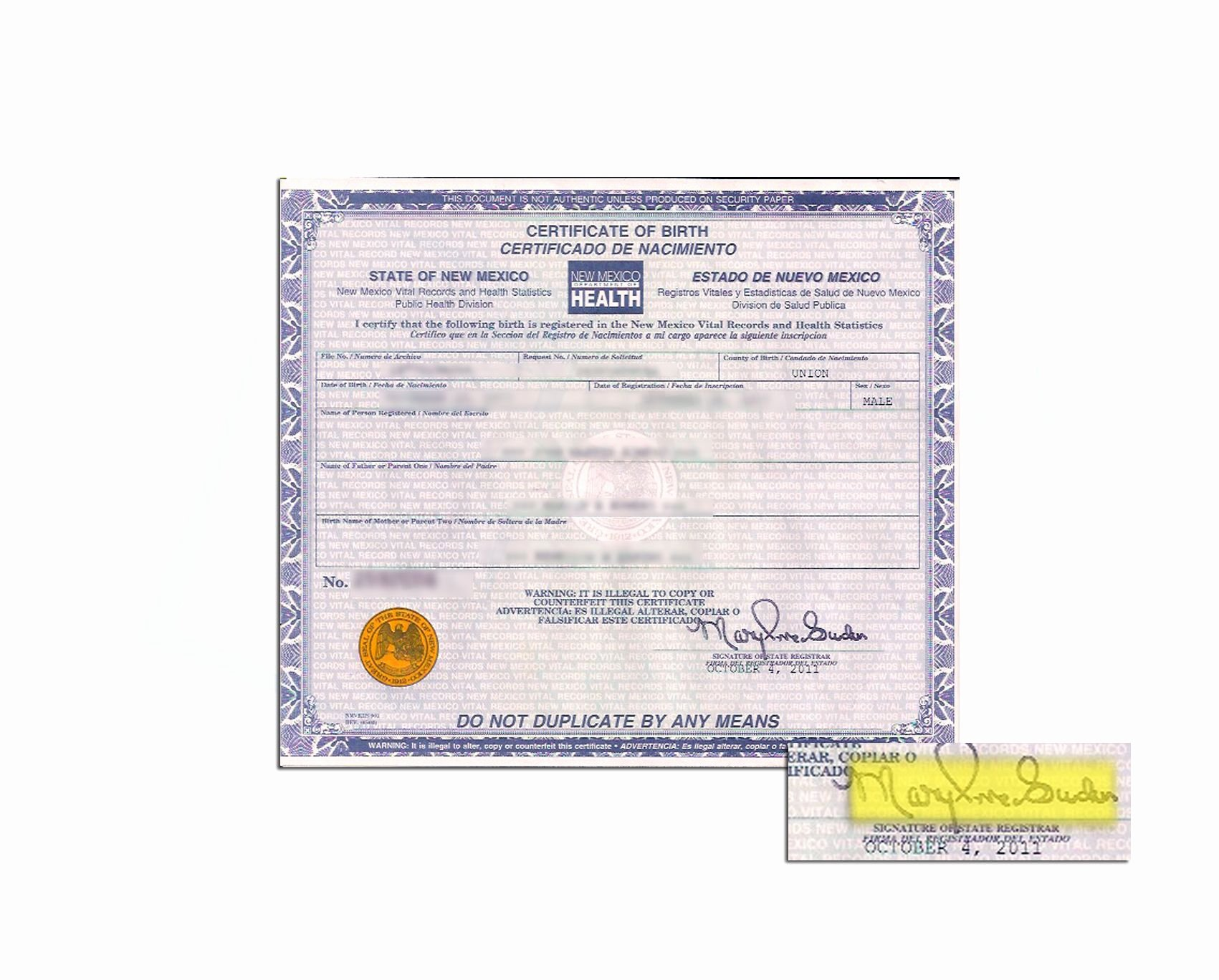 Mexico Birth Certificate Template Inspirational County Of Union Of New Mexico Birth Certificate issued by