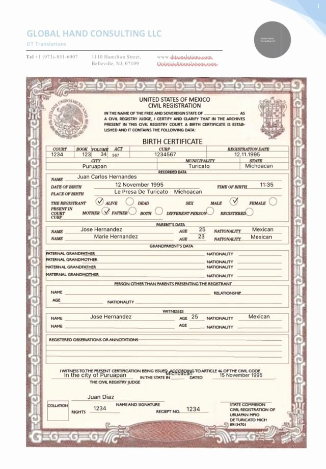 Mexico Birth Certificate Template Lovely Notarized Document Sample Free Download Aashe