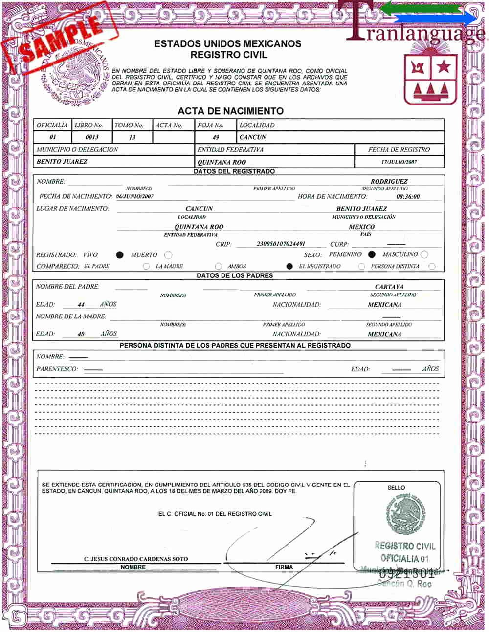 Mexico Birth Certificate Translation Template Beautiful Birth Certificate Mexico