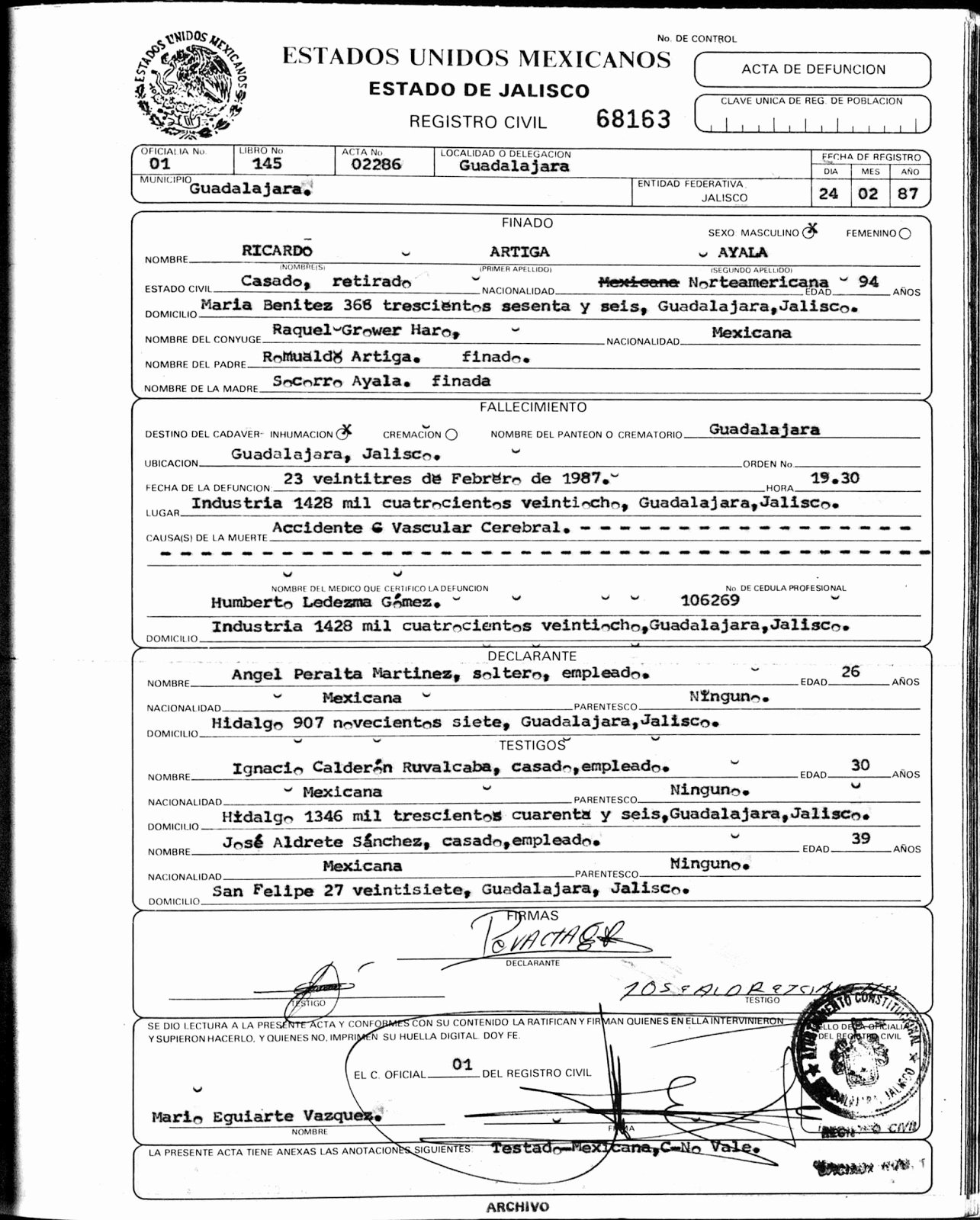 Mexico Birth Certificate Translation Template Beautiful Mcintyre Stevens Genealogy Ricardo Ayala Artiga 1894