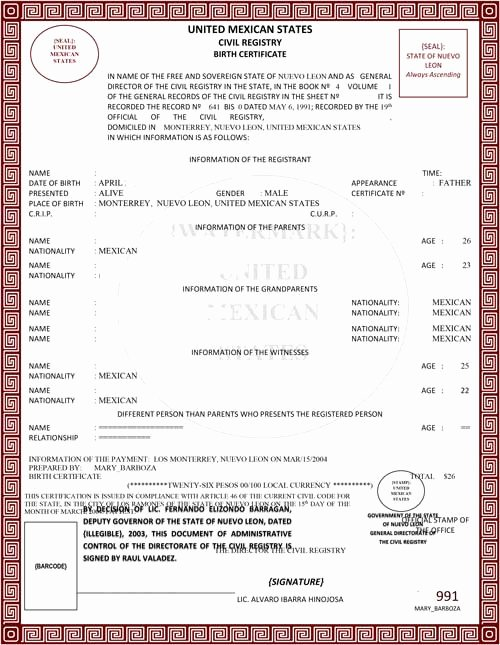Mexico Birth Certificate Translation Template New Spanish Birth Certificate Translation 24 Hour