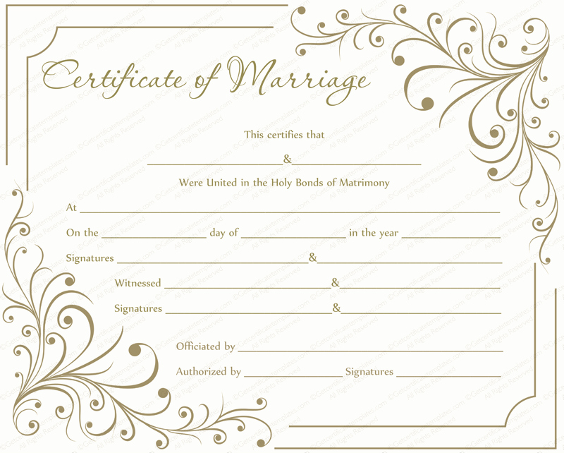 Microsoft Office Marriage Certificate Template Elegant Marriage Certificate Template Write Your Own Certificate