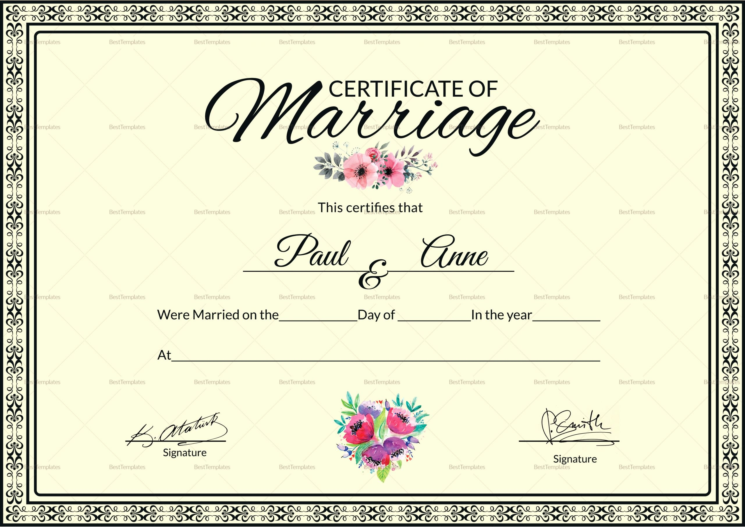 Microsoft Office Marriage Certificate Template Fresh Marriage Certificate Design Template In Psd Word