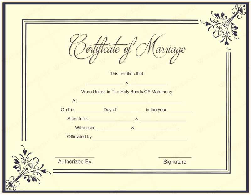 Microsoft Office Marriage Certificate Template Lovely Document Templates February 2016
