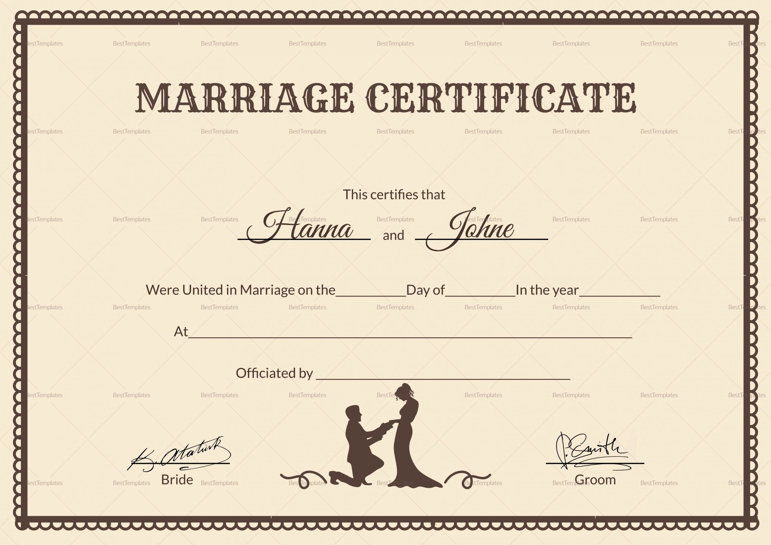 Microsoft Office Marriage Certificate Template Luxury Vintage Marriage Certificate Design Template In Psd Word