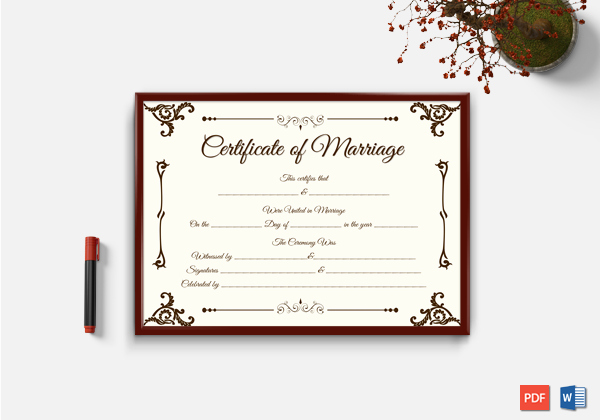 Microsoft Office Marriage Certificate Template New Marriage Certificate format 7 Blank Editable formats